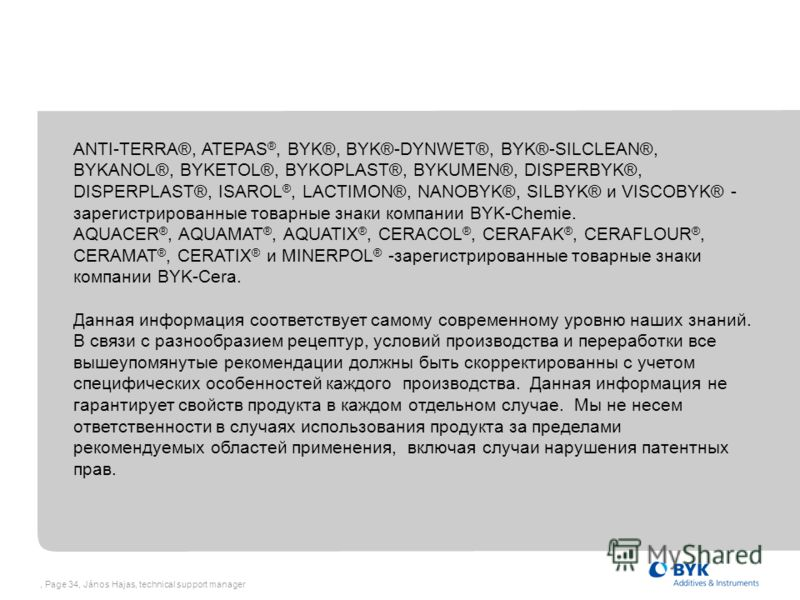 , Page 34, János Hajas, technical support manager ANTI-TERRA®, ATEPAS ®, BYK®, BYK®-DYNWET®, BYK®-SILCLEAN®, BYKANOL®, BYKETOL®, BYKOPLAST®, BYKUMEN®, DISPERBYK®, DISPERPLAST®, ISAROL ®, LACTIMON®, NANOBYK®, SILBYK® и VISCOBYK® - зарегистрированные т
