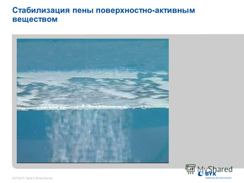 6/27/2013, Seite 9, Entschäumer Стабилизация пены поверхностно-активным веществом