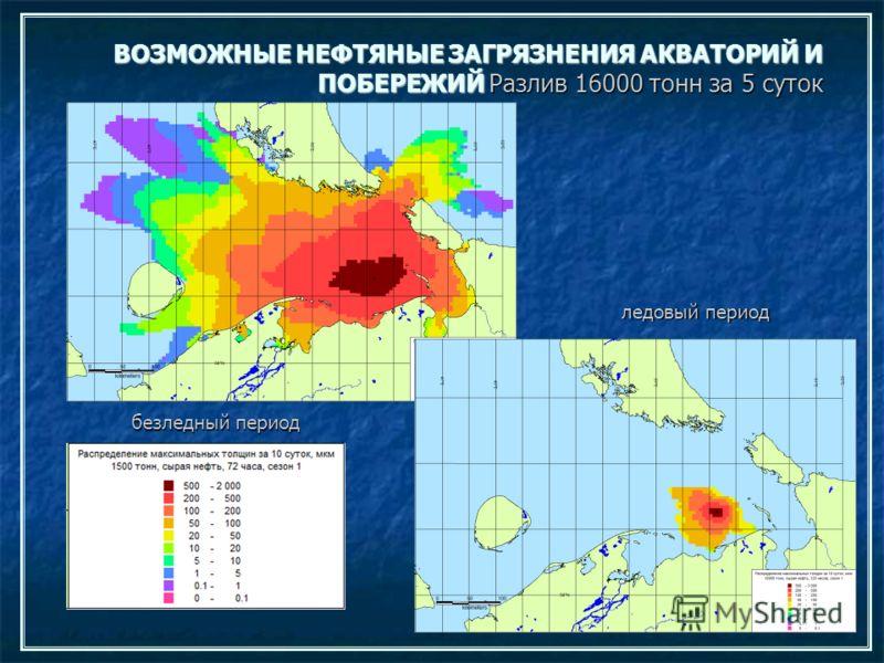 ВОЗМОЖНЫЕ НЕФТЯНЫЕ ЗАГРЯЗНЕНИЯ АКВАТОРИЙ И ПОБЕРЕЖИЙ Разлив 16000 тонн за 5 суток безледный период ледовый период