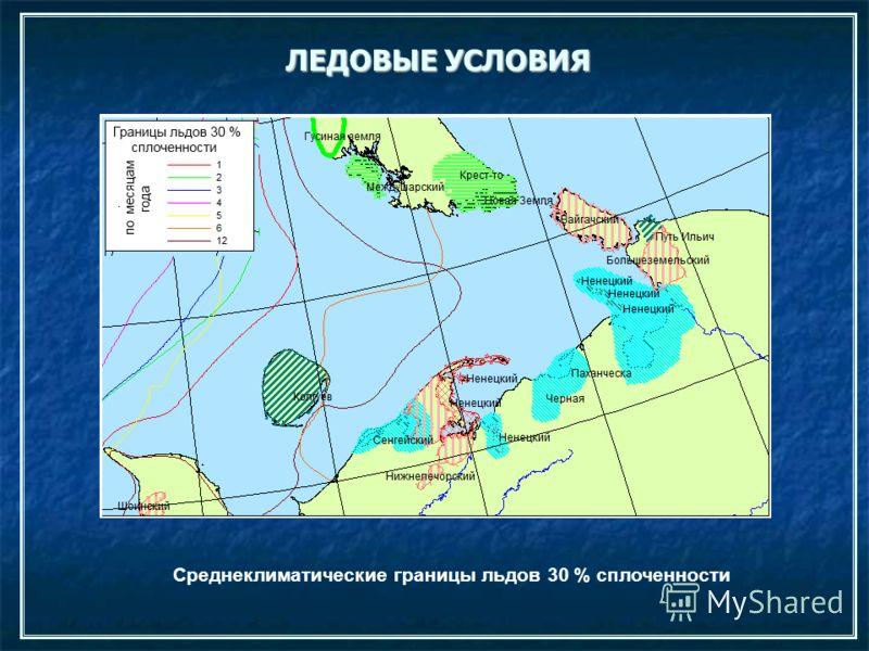 Среднеклиматические границы льдов 30 % сплоченности
