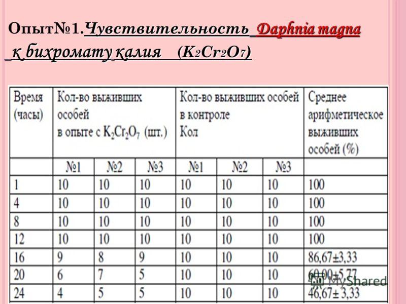 Чувствительность Daphnia magna к бихромату калия ( K 2 Cr 2 O 7 ) Опыт1. Чувствительность Daphnia magna к бихромату калия ( K 2 Cr 2 O 7 )