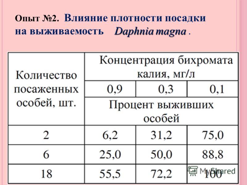 Daphnia magna Опыт 2. Влияние плотности посадки на выживаемость Daphnia magna.