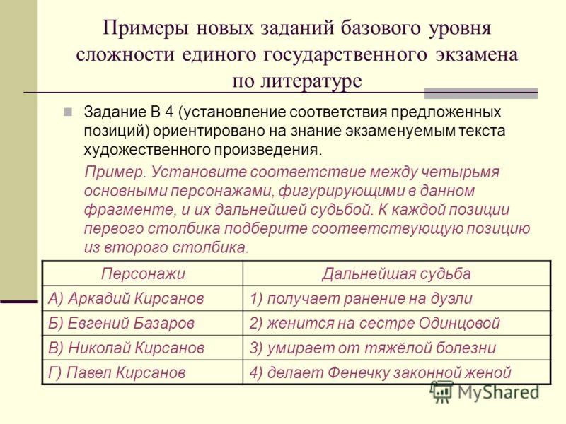 Примеры новых заданий базового уровня сложности единого государственного экзамена по литературе Задание В 4 (установление соответствия предложенных позиций) ориентировано на знание экзаменуемым текста художественного произведения. Пример. Установите