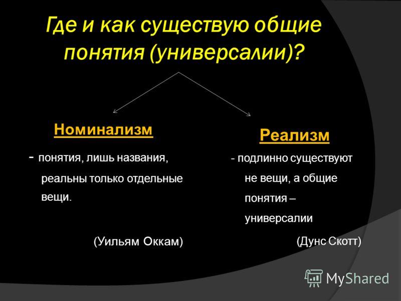Где и как существую общие понятия (универсалии)? Реализм - подлинно существуют не вещи, а общие понятия – универсалии (Дунс Скотт) Номинализм - понятия, лишь названия, реальны только отдельные вещи. ( Уильям Оккам )