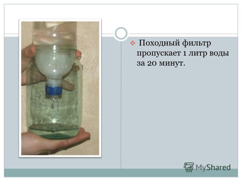 Походный фильтр пропускает 1 литр воды за 20 минут.