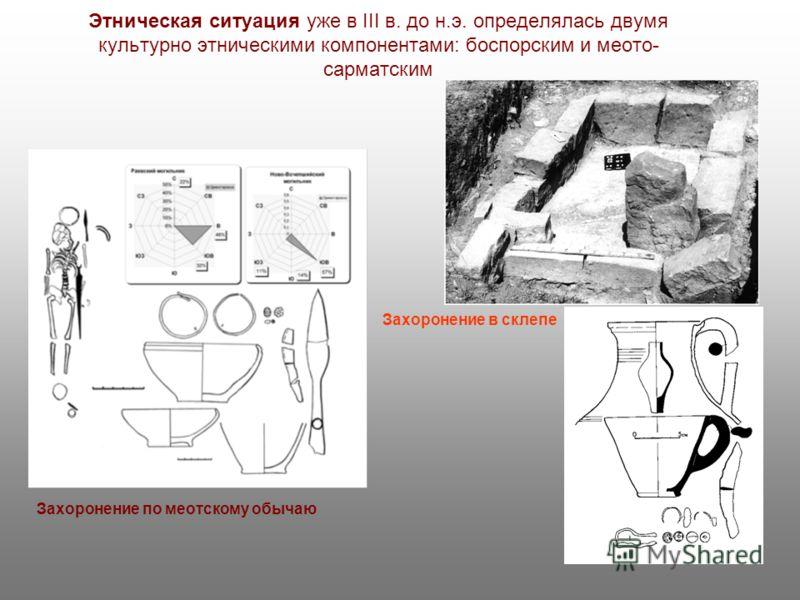 Этническая ситуация уже в III в. до н.э. определялась двумя культурно этническими компонентами: боспорским и меото- сарматским Захоронение по меотскому обычаю Захоронение в склепе