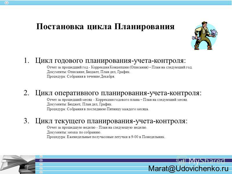 Marat@Udovichenko.ru Постановка цикла Планирования 1.Цикл годового планирования-учета-контроля: Отчет за прошедший год - Коррекция Концепции (Описания) – План на следующий год. Документы: Описание, Бюджет, План дел, График. Процедура: Собрания в тече