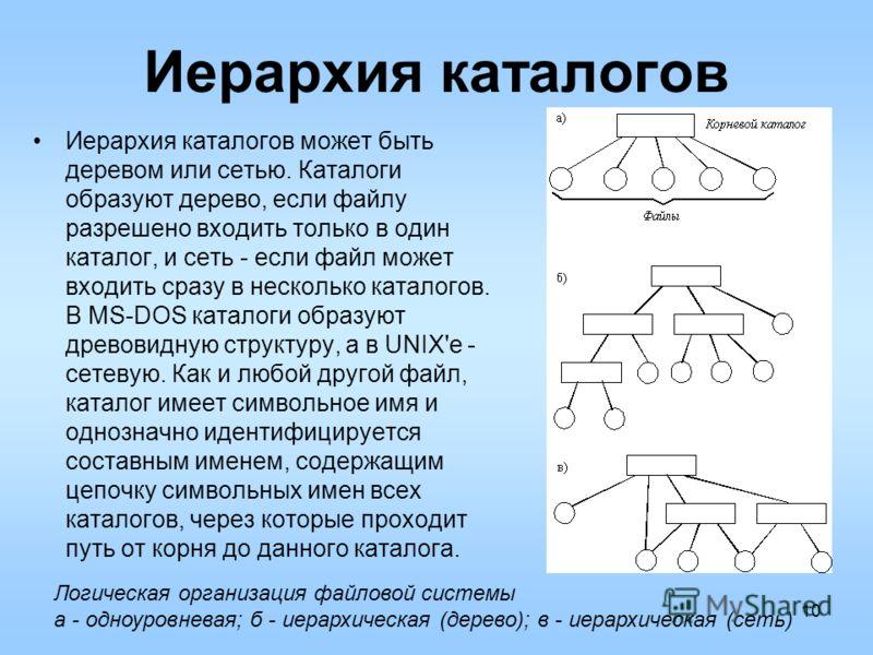 10 Иерархия каталогов Иерархия каталогов может быть деревом или сетью. Каталоги образуют дерево, если файлу разрешено входить только в один каталог, и сеть - если файл может входить сразу в несколько каталогов. В MS-DOS каталоги образуют древовидную