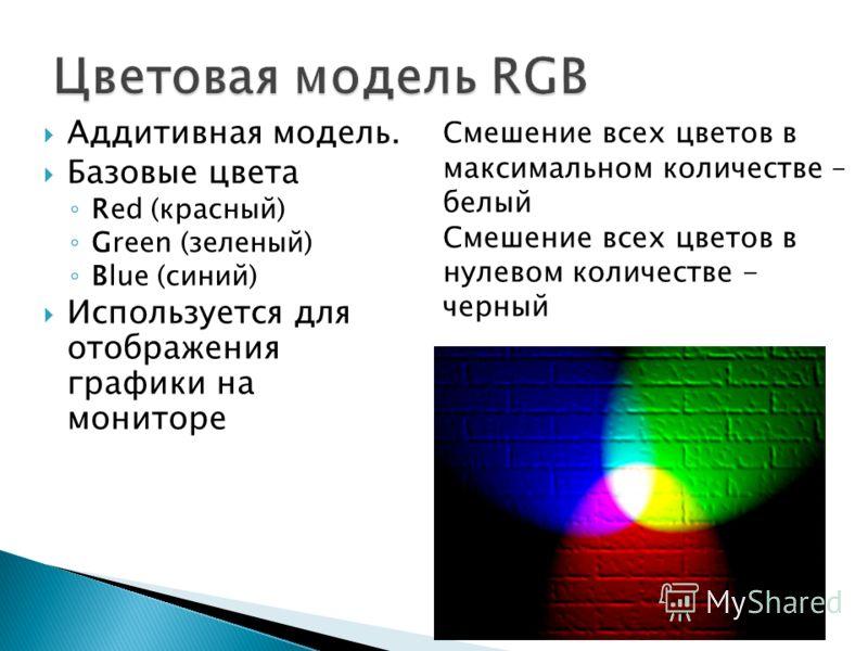 Аддитивная модель. Базовые цвета Red (красный) Green (зеленый) Blue (синий) Используется для отображения графики на мониторе Смешение всех цветов в максимальном количестве – белый Смешение всех цветов в нулевом количестве - черный