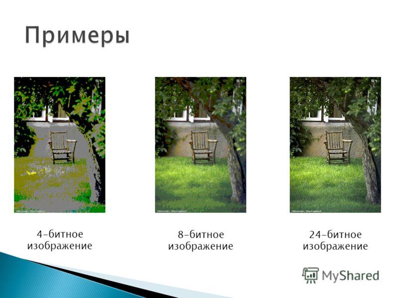 4-битное изображение 8-битное изображение 24-битное изображение