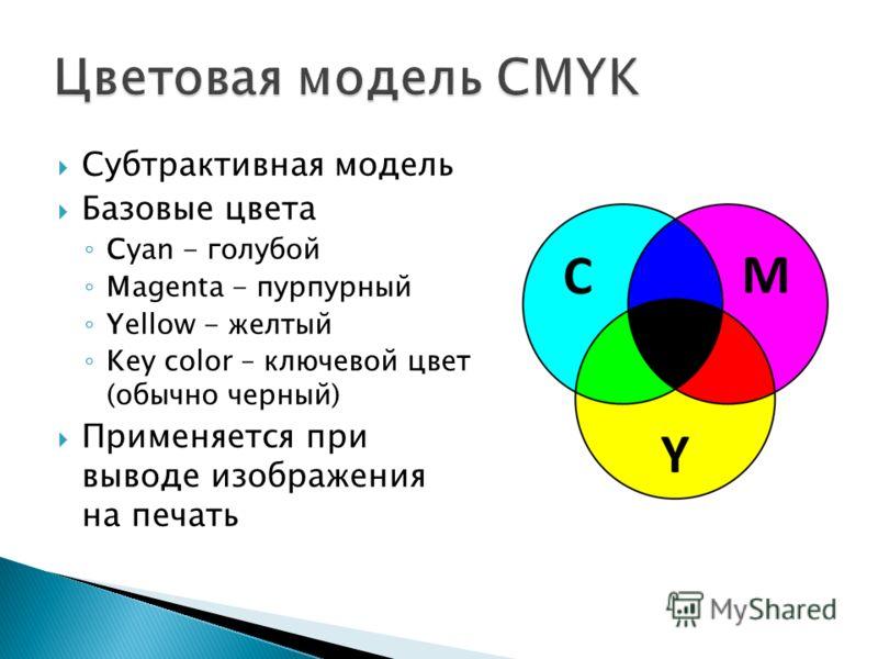 Субтрактивная модель Базовые цвета Cyan - голубой Magenta - пурпурный Yellow - желтый Key color – ключевой цвет (обычно черный) Применяется при выводе изображения на печать
