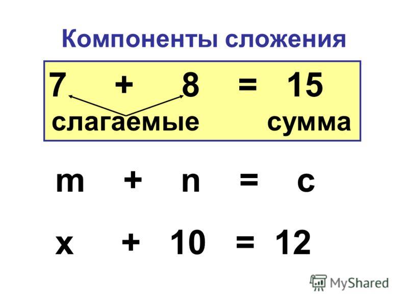 Компоненты сложения 7 + 8 = 15 слагаемые сумма m + n = c x + 10 = 12