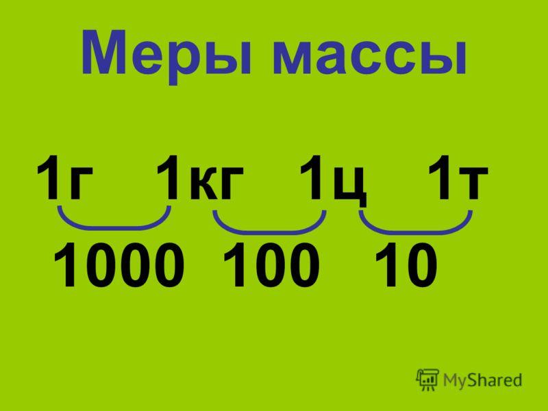 Меры массы 1г 1кг 1ц 1т 1000 100 10