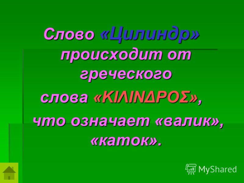 Слово «Цилиндр» происходит от греческого слова «ΚΙΛΙΝΔΡΟΣ», что означает «валик», «каток». что означает «валик», «каток».