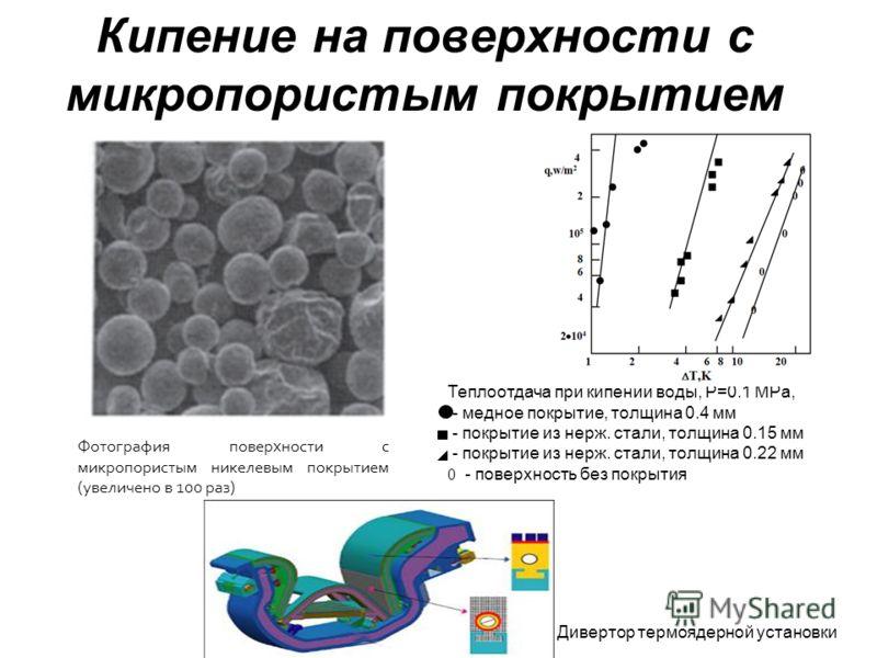Кипение на поверхности с микропористым покрытием Фотография поверхности с микропористым никелевым покрытием (увеличено в 100 раз) Теплоотдача при кипении воды, P=0.1 MPa, - медное покрытие, толщина 0.4 мм - покрытие из нерж. стали, толщина 0.15 мм -