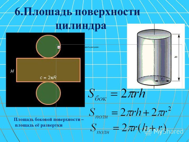 6.Плошадь поверхности цилиндра Площадь боковой поверхности – площадь её развертки