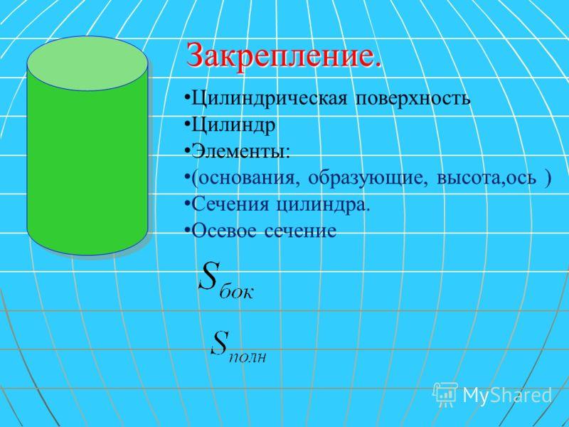 Цилиндрическая поверхность Цилиндр Элементы: (основания, образующие, высота,ось ) Сечения цилиндра. Осевое сечение Закрепление.