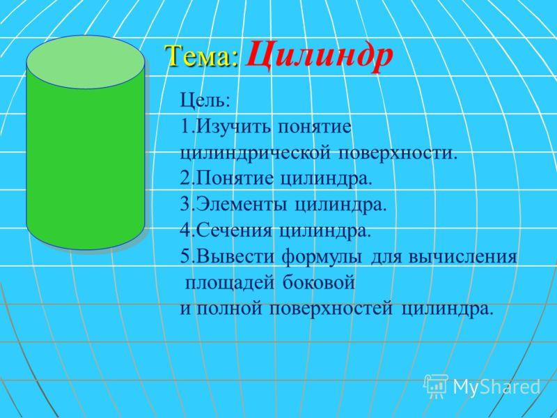 Тема: Тема: Цилиндр Цель: 1.Изучить понятие цилиндрической поверхности. 2.Понятие цилиндра. 3.Элементы цилиндра. 4.Сечения цилиндра. 5.Вывести формулы для вычисления площадей боковой и полной поверхностей цилиндра.