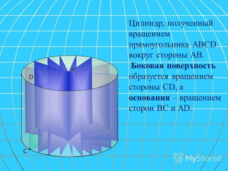 В С Цилиндр, полученный вращением прямоугольника АВСD вокруг стороны АВ. Боковая поверхность образуется вращением стороны СD, а основания – вращением сторон ВС и АD. D А