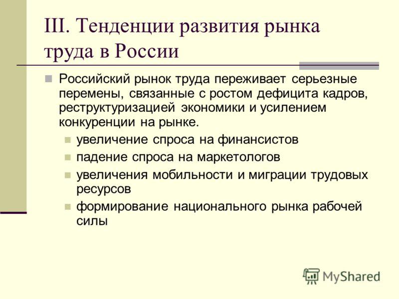 III. Тенденции развития рынка труда в России Российский рынок труда переживает серьезные перемены, связанные с ростом дефицита кадров, реструктуризацией экономики и усилением конкуренции на рынке. увеличение спроса на финансистов падение спроса на ма