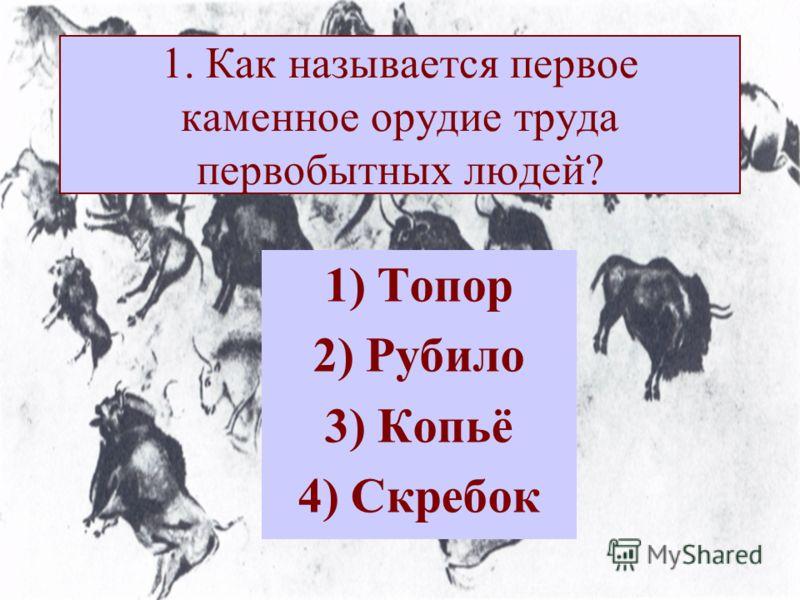 1. Как называется первое каменное орудие труда первобытных людей? 1) Топор 2) Рубило 3) Копьё 4) Скребок