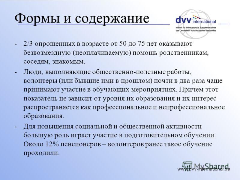 www.dvv-international.de Формы и содержание -2/3 опрошенных в возрасте от 50 до 75 лет оказывают безвозмездную (неоплачиваемую) помощь родственникам, соседям, знакомым. -Люди, выполняющие общественно-полезные работы, волонтеры (или бывшие ими в прошл