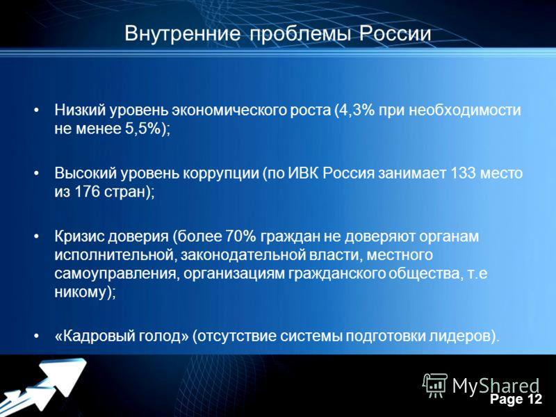 Powerpoint Templates Page 12 Внутренние проблемы России Низкий уровень экономического роста (4,3% при необходимости не менее 5,5%); Высокий уровень коррупции (по ИВК Россия занимает 133 место из 176 стран); Кризис доверия (более 70% граждан не доверя