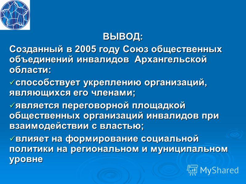 ВЫВОД: Созданный в 2005 году Союз общественных объединений инвалидов Архангельской области: способствует укреплению организаций, являющихся его членами; способствует укреплению организаций, являющихся его членами; является переговорной площадкой обще