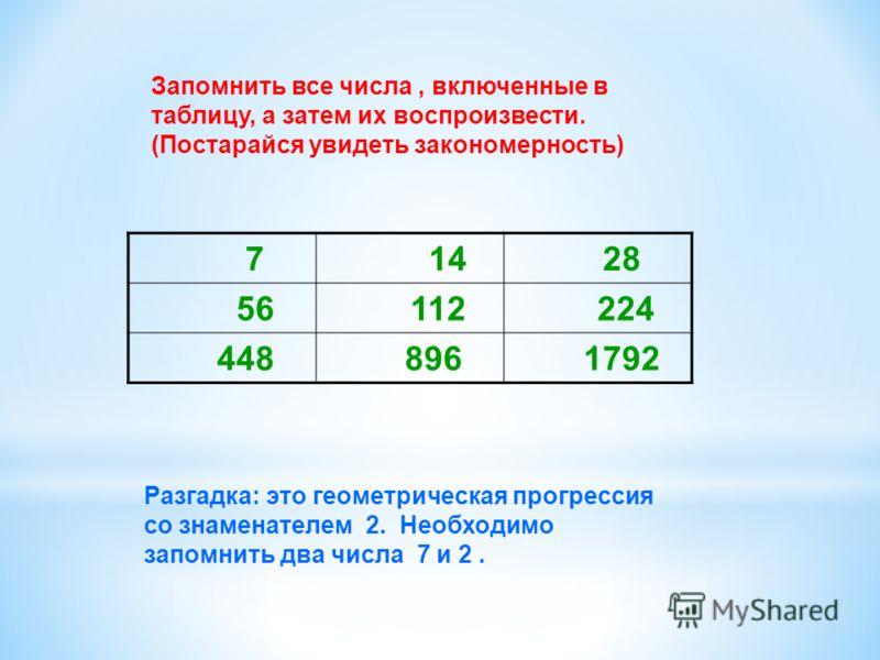 7 14 28 56 112 224 448 896 1792 Разгадка: это геометрическая прогрессия со знаменателем 2. Необходимо запомнить два числа 7 и 2. Запомнить все числа, включенные в таблицу, а затем их воспроизвести. (Постарайся увидеть закономерность)
