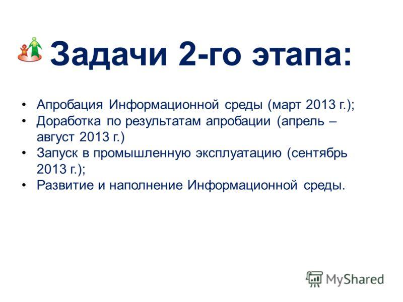Апробация Информационной среды (март 2013 г.); Доработка по результатам апробации (апрель – август 2013 г.) Запуск в промышленную эксплуатацию (сентябрь 2013 г.); Развитие и наполнение Информационной среды. Задачи 2-го этапа: