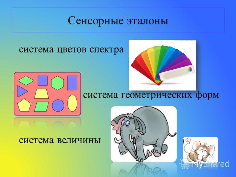 Сенсорные эталоны система цветов спектра система геометрических форм система величины