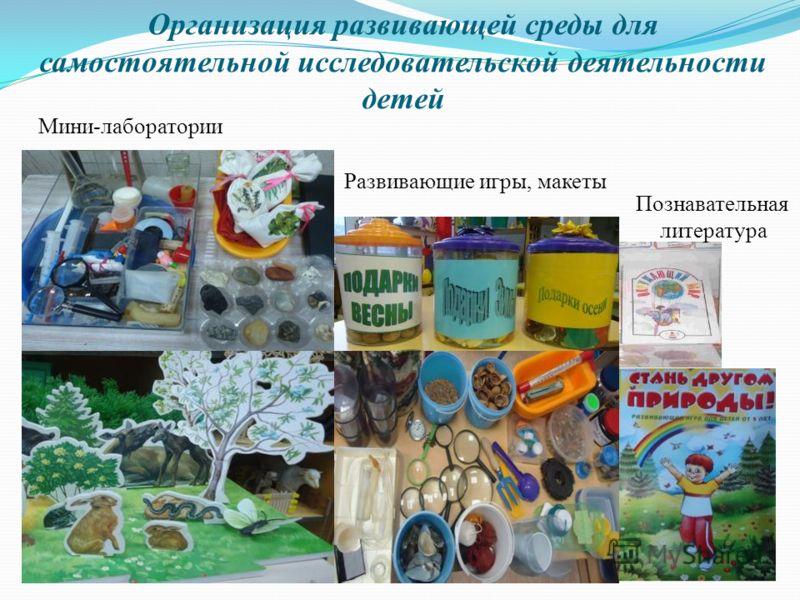 Организация развивающей среды для самостоятельной исследовательской деятельности детей Мини-лаборатории Развивающие игры, макеты Познавательная литература