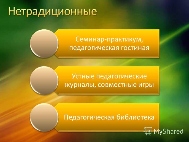 Семинар-практикум, педагогическая гостиная Устные педагогические журналы, совместные игры Педагогическая библиотека