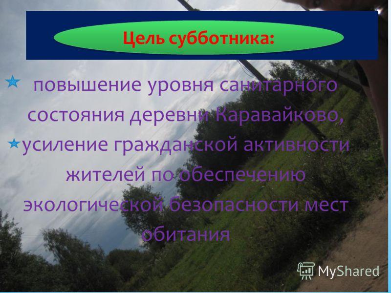 повышение уровня санитарного состояния деревни Каравайково, усиление гражданской активности жителей по обеспечению экологической безопасности мест обитания Цель субботника: