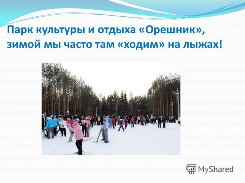 Парк культуры и отдыха «Орешник», зимой мы часто там «ходим» на лыжах!