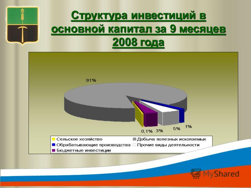 Структура инвестиций в основной капитал за 9 месяцев 2008 года