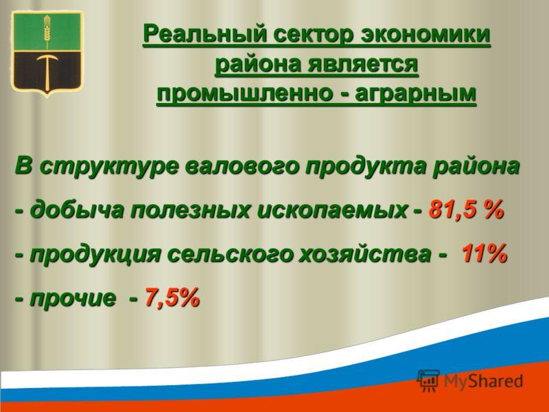 Реальный сектор экономики района является промышленно - аграрным В структуре валового продукта района - добыча полезных ископаемых - 81,5 % - продукция сельского хозяйства - 11% - прочие - 7,5%