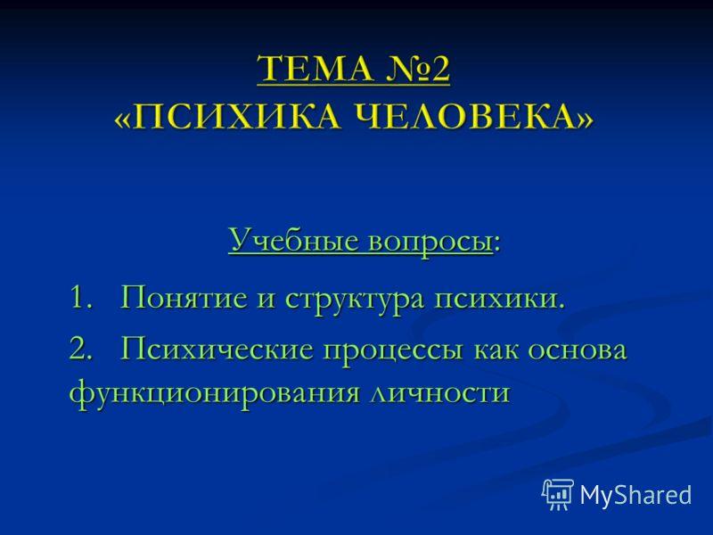 Учебные вопросы: 1. Понятие и структура психики. 2. Психические процессы как основа функционирования личности