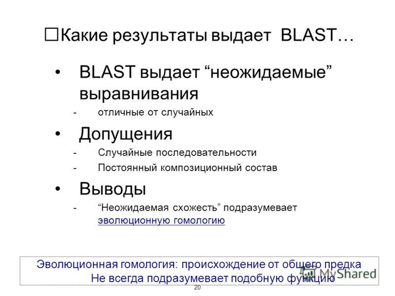 20 Какие результаты выдает BLAST… BLAST выдает неожидаемые выравнивания -отличные от случайных Допущения -Случайные последовательности -Постоянный композиционный состав Выводы -Неожидаемая схожесть подразумевает эволюционную гомологию Эволюционная го