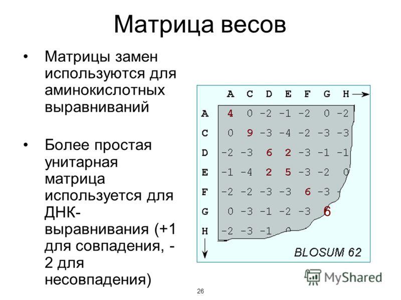 26 Матрица весов Матрицы замен используются для аминокислотных выравниваний Более простая унитарная матрица используется для ДНК- выравнивания (+1 для совпадения, - 2 для несовпадения) 26 6
