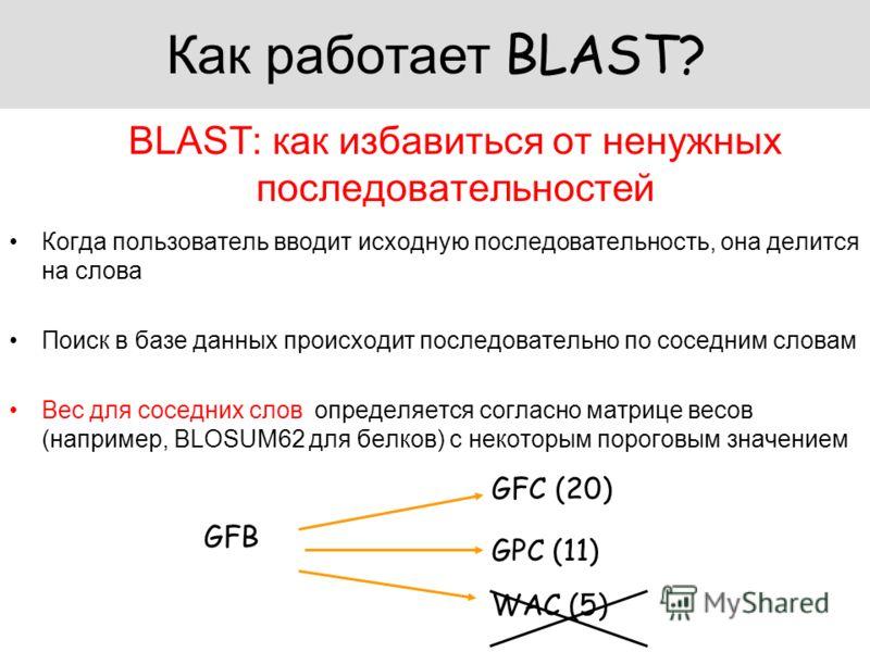 BLAST: как избавиться от ненужных последовательностей Когда пользователь вводит исходную последовательность, она делится на слова Поиск в базе данных происходит последовательно по соседним словам Вес для соседних слов определяется согласно матрице ве
