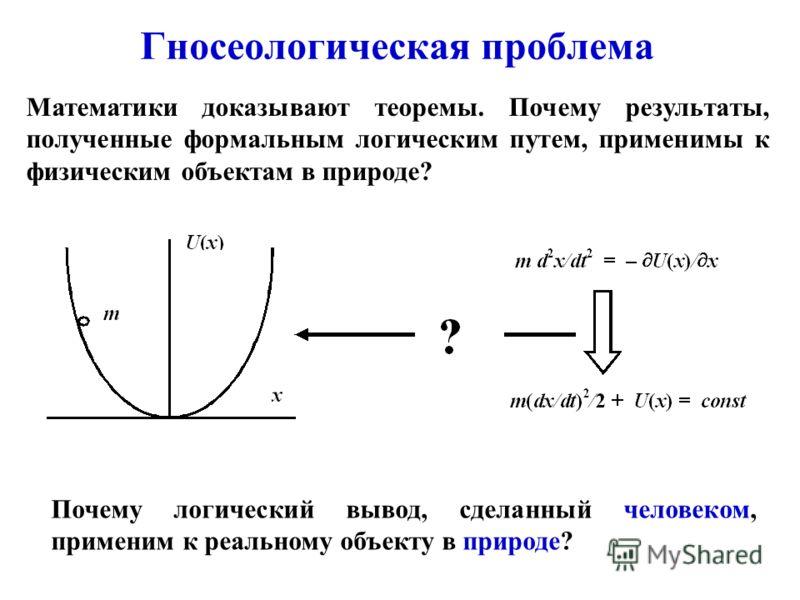 Гносеологическая проблема Почему логический вывод, сделанный человеком, применим к реальному объекту в природе? Математики доказывают теоремы. Почему результаты, полученные формальным логическим путем, применимы к физическим объектам в природе?