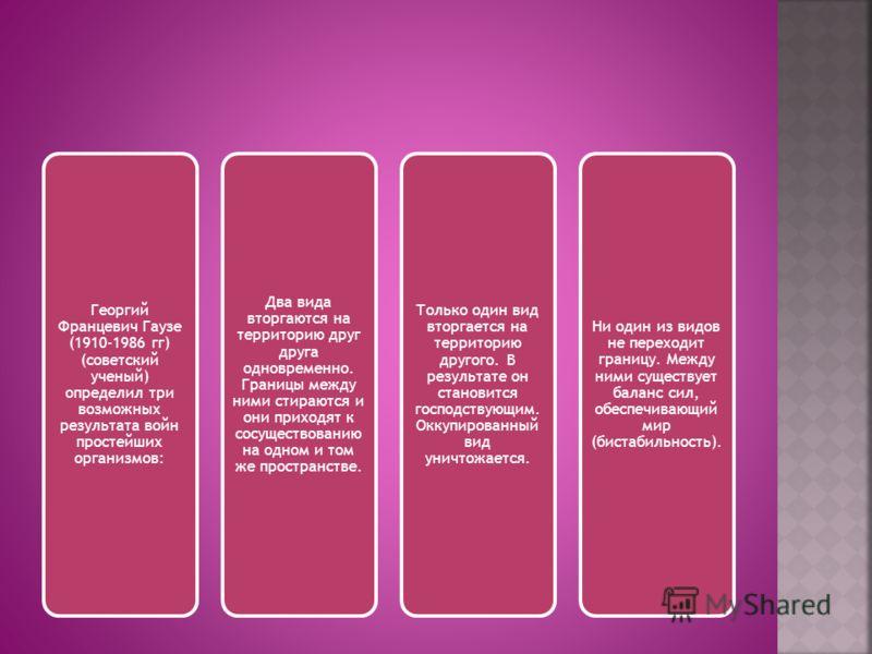 Георгий Францевич Гаузе (1910-1986 гг) (советский ученый) определил три возможных результата войн простейших организмов: Два вида вторгаются на территорию друг друга одновременно. Границы между ними стираются и они приходят к сосуществованию на одном