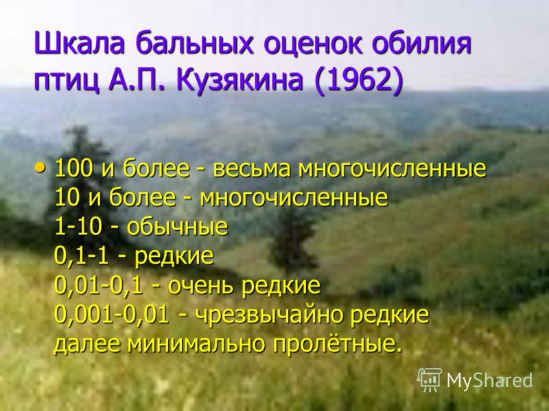 Шкала бальных оценок обилия птиц А.П. Кузякина (1962) 100 и более - весьма многочисленные 10 и более - многочисленные 1-10 - обычные 0,1-1 - редкие 0,01-0,1 - очень редкие 0,001-0,01 - чрезвычайно редкие далее минимально пролётные. 100 и более - весь