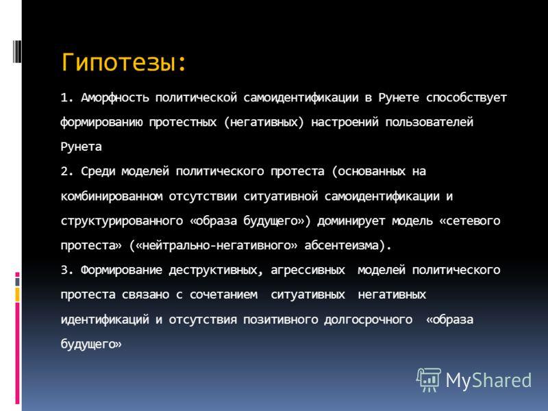 Гипотезы: 1. Аморфность политической самоидентификации в Рунете способствует формированию протестных (негативных) настроений пользователей Рунета 2. Среди моделей политического протеста (основанных на комбинированном отсутствии ситуативной самоиденти