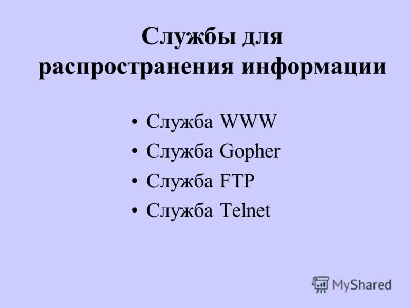 Службы для распространения информации Служба WWW Служба Gopher Служба FTP Служба Telnet