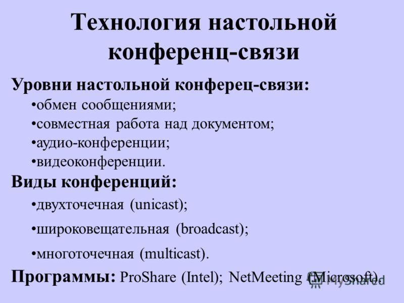 Технология настольной конференц-связи Уровни настольной конферец-связи: обмен сообщениями; совместная работа над документом; аудио-конференции; видеоконференции. Виды конференций: двухточечная (unicast); широковещательная (broadcast); многоточечная (