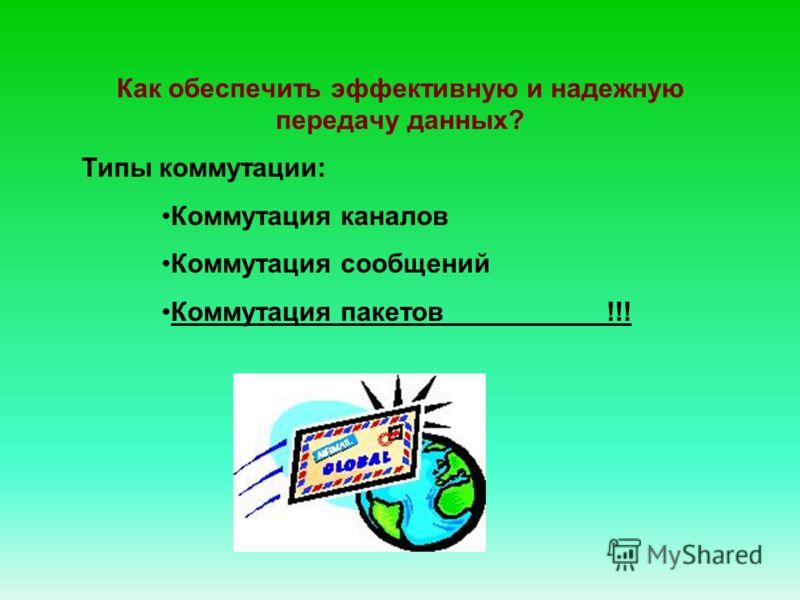 Типы коммутации: Коммутация каналов Коммутация сообщений Коммутация пакетов !!! Как обеспечить эффективную и надежную передачу данных?