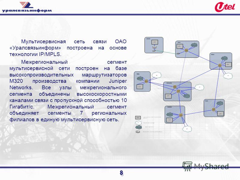 8 Мультисервисная сеть связи ОАО «Уралсвязьинформ» построена на основе технологии IP/MPLS. Межрегиональный сегмент мультисервисной сети построен на базе высокопроизводительных маршрутизаторов M320 производства компании Juniper Networks. Все узлы межр