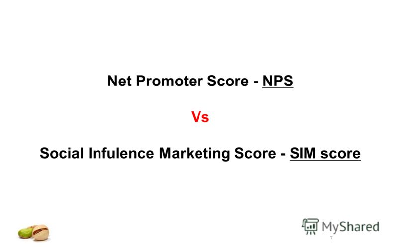 7 Net Promoter Score - NPS Vs Social Infulence Marketing Score - SIM score
